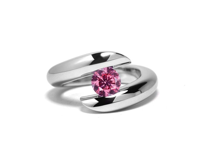 Pink Sapphire Tension Ring in Stainless Steel