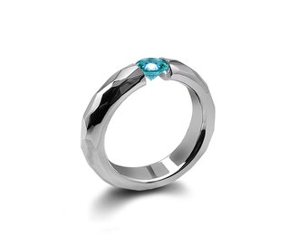 Blue Topaz Tension Ring Hammered Stainless Steel Mounting