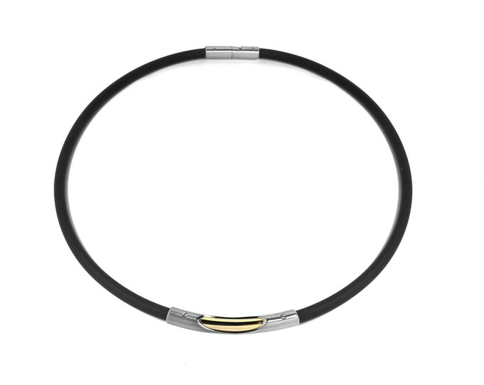 Two Tone Stainless Steel Gold Tube Rubber Necklace