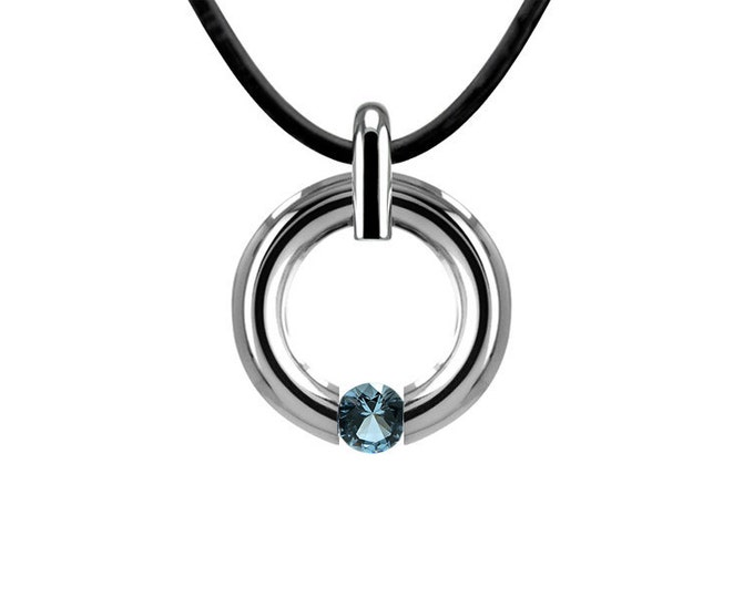 Blue Topaz Two Tone Tension Set Necklace Stainless Steel