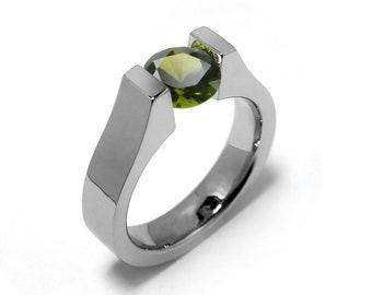 1.5ct Peridot Tension Set Ring Stainless Steel
