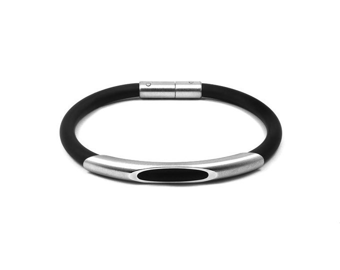 Men's Bracelet Stainless Steel and Black Rubber