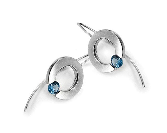 Tension Set Blue Topaz Drop Earrings in Stainless Steel