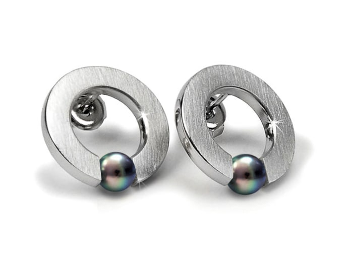 Black Pearls round Tension setting Earrings by Taormina Jewelry