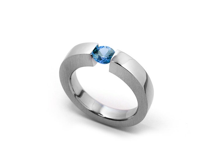 Blue Topaz Mens Tension Set Ring in Stainless Steel