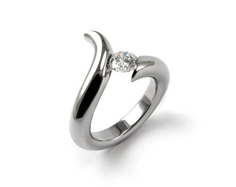 White Sapphire Ring Tension Set in Stainless Steel