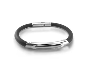 Modern Mens Rubber and Stainless Steel Bracelet