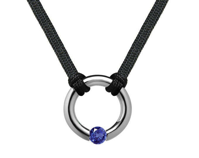 Blue Sapphire Tension Set Round Men's Necklace in Stainless Steel by Taormina Jewelry
