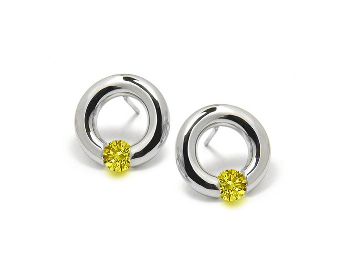 Yellow Sapphire Stud Tension Set Earrings in Steel Stainless