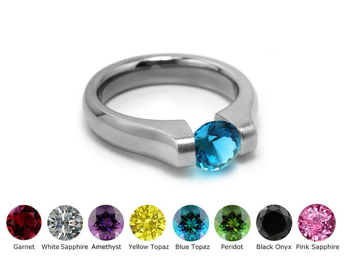 Blue Topaz Tension Ring in Stainless Steel