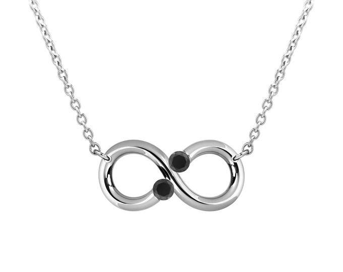 Infinity Horizontal Necklace with Two Tension Set Black Onyx in Stainless Steel
