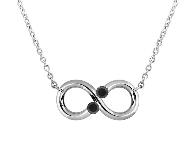 Taormina Black Diamond Infinity Necklace Tension Set Steel Stainless