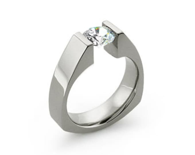 White Sapphire Triangular Tension Set Ring in Stainless Steel Modern Style
