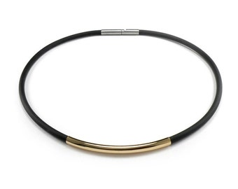 Black Rubber and Gold Men's Necklace