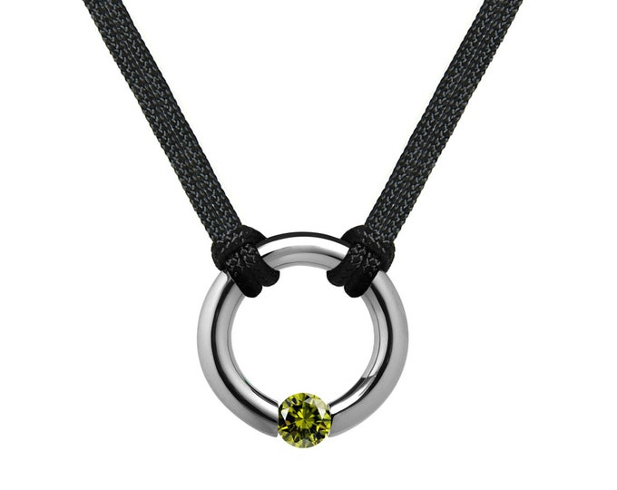 Peridot Tension Set Round Men's Necklace in Stainless Steel