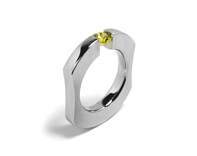 Tension Set Yellow Topaz Mens Ring in Stainless Steel