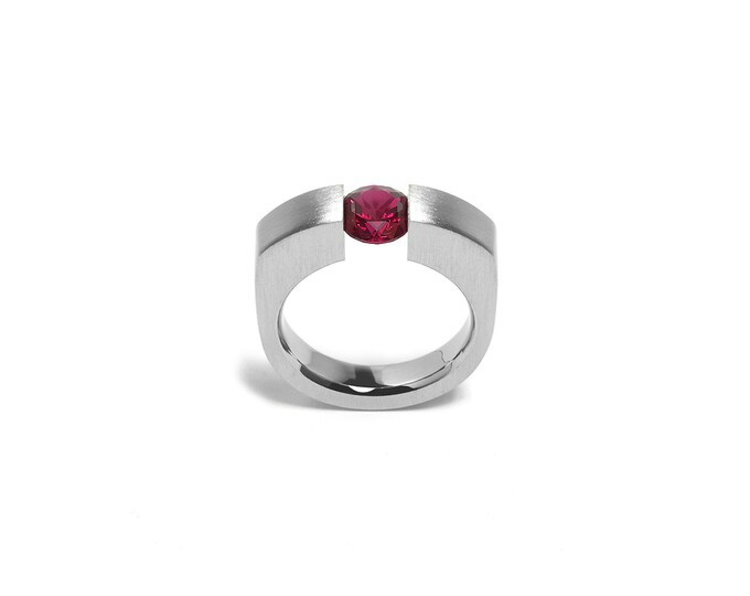 Modern Garnet Engagement Ring Tension Set Steel