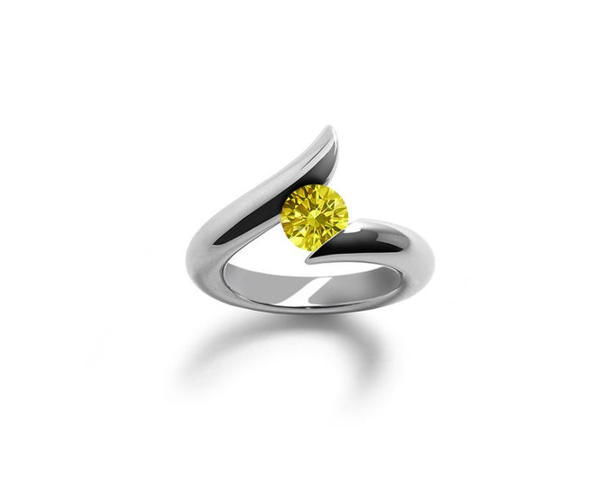 Yellow Sapphire Topaz Tension Set Ring in Stainless Steel