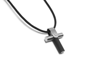 Men's Cross Necklace Harley Biker Look in Stainless Steel