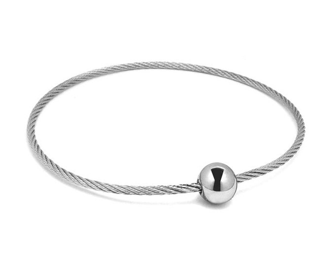 Single Row Stainless Steel Bangle Cable Wire Bracelet