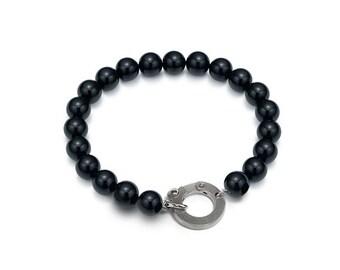 Casual Layering Obsidian Bead Bracelet 8mm