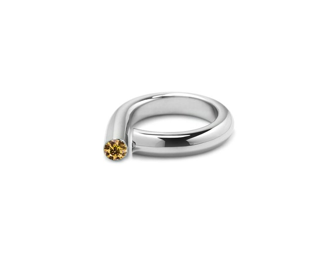 Yellow Topaz Pinky Ring in Stainless Steel