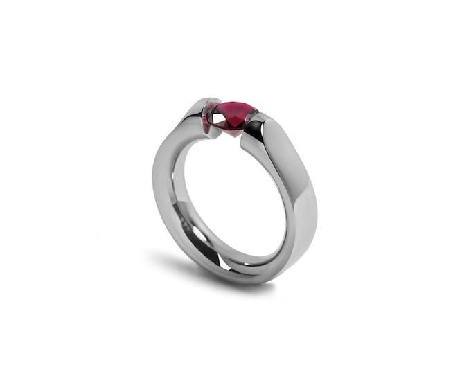 Ruby Ring Two Tone Tension Set Mounting in Stainless Steel