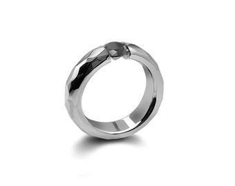 Black Diamond Tension Set Ring Hammered Mounting Steel