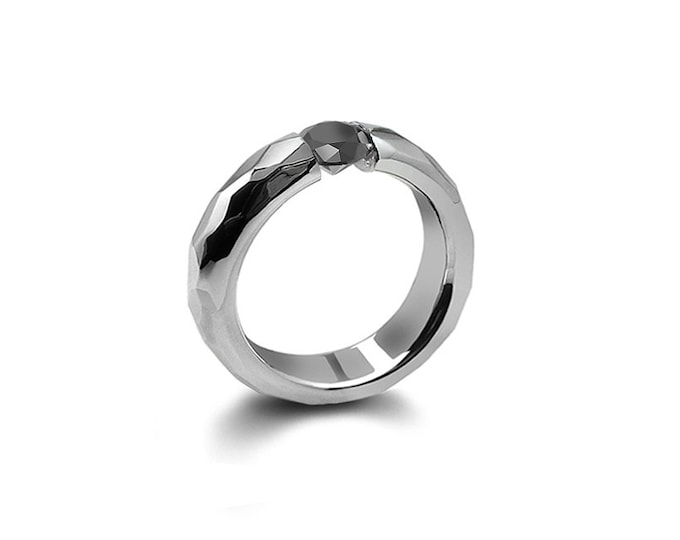 Black Diamond Tension Set Ring Hammered Mounting Steel