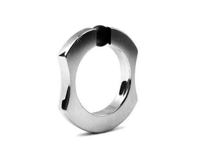 Mens Obsidian Stainless Steel Two Tone  Ring Tension Set