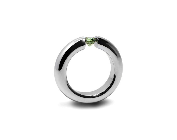 Peridot Mens Tension Set Ring in Stainless Steel