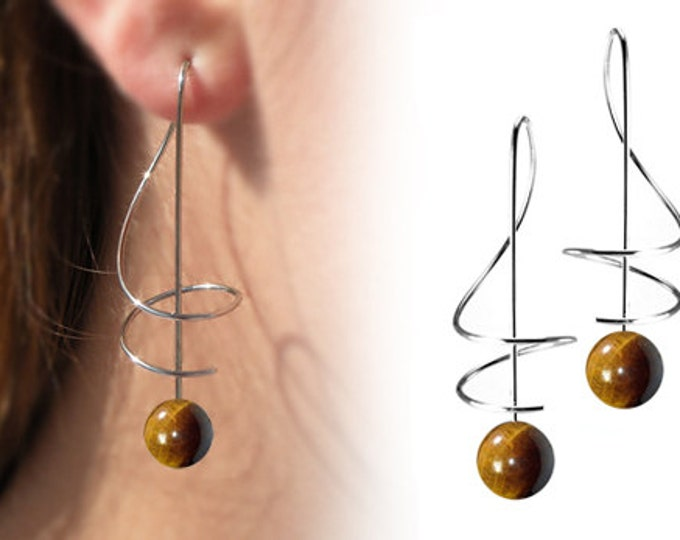 Taormina Tiger Eye Drop Earrings Stainless Steel Wire Music Key
