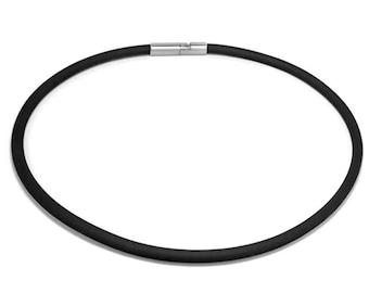 Mens Black Rubber Necklace 5mm Rubber 6mm Clasp
