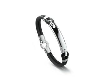 Mens Black Rubber and Stainless Steel Men Bracelet
