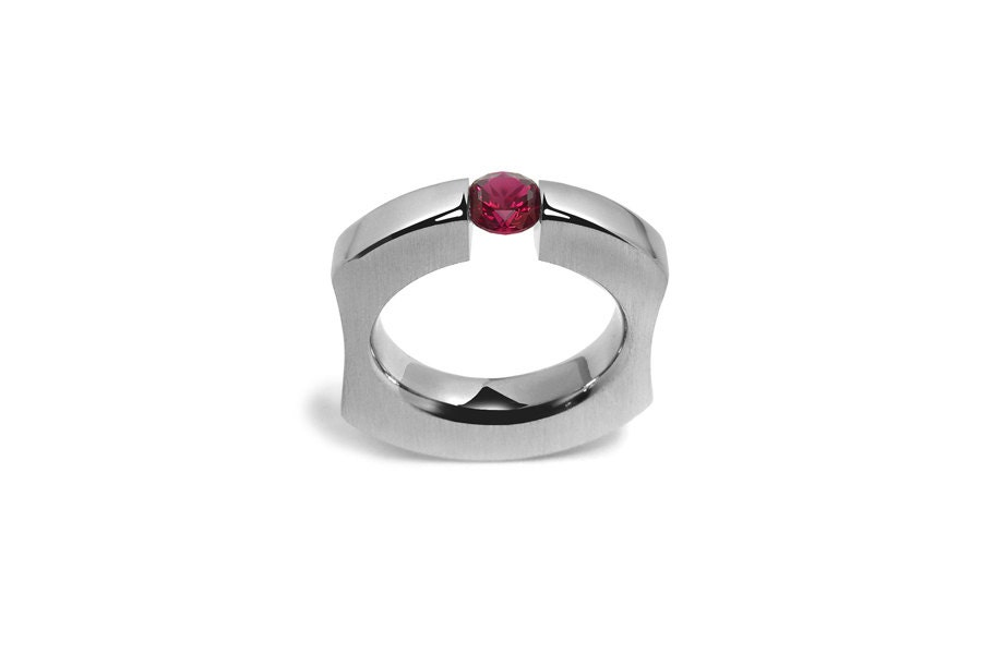 999894ca1ee21 Garnet Tension Set Mens Ring int Stainless Steel