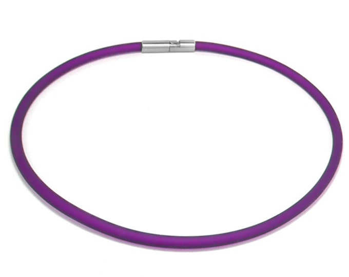 Purple Rubber Necklace 5mm Rubber 6mm Clasp by Taormina Jewelry