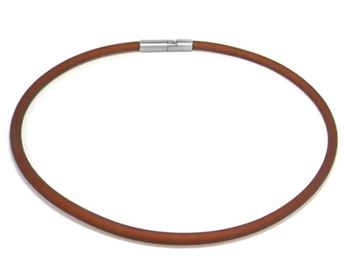 Brown Rubber Necklace 5mm Rubber 6mm Clasp by Taormina Jewelry