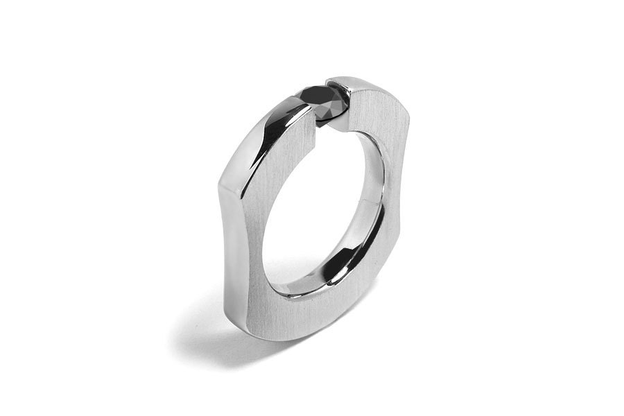 Stainless Steel Tension-Set Half-Round Band Ring with Clear CZ