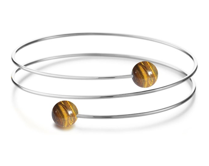 Tiger Eye triple wire bracelet in Stainless Steel Multi row by Taormina Jewelry