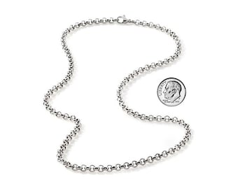 3mm Rounded Link Chain Stainless Steel Necklace for Pendants and Charms