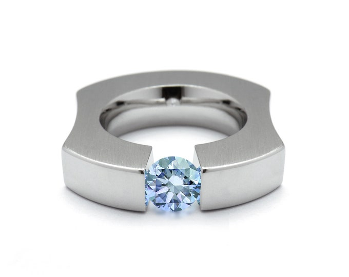 1ct Blue Topaz Ergonomic Tension Set Ring in Stainless Steel by Taormina Jewelry