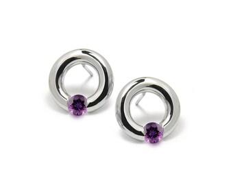 Amethyst Stud Post Tension Set Circle Earrings in Steel Stainless
