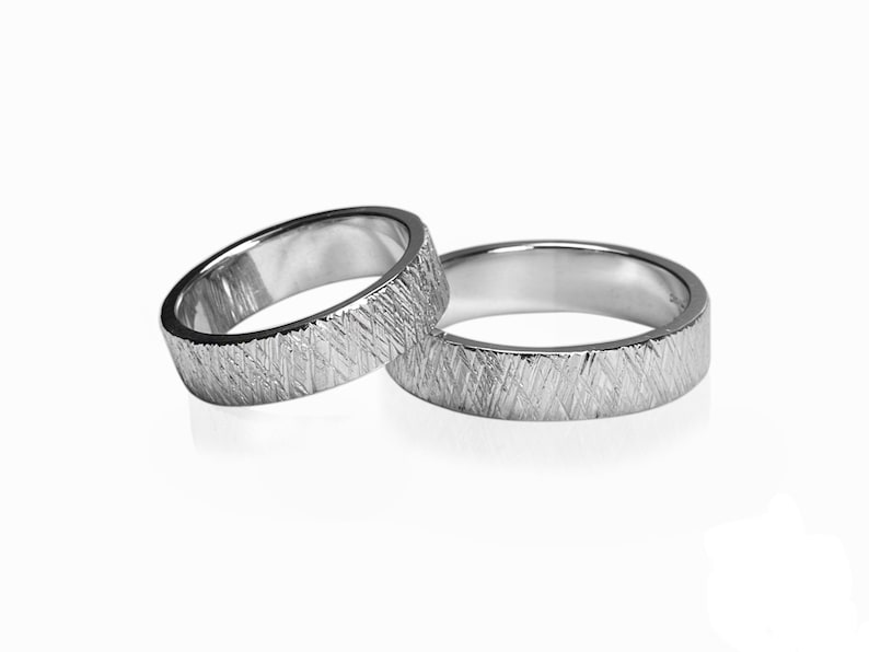 Crossed Wedding Bands.Texture Diagonal Crossed Lines Unisex Wedding Band Ring Rough Raw Look In Stainless Steel 3mm 4mm 5mm 6mm