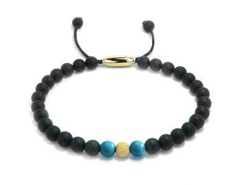 Layering Bead Bracelet 6mm Obsidian, Gold & Turquoise