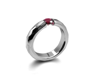 Garnet Tension Ring Hammered Stainless Steel Mounting