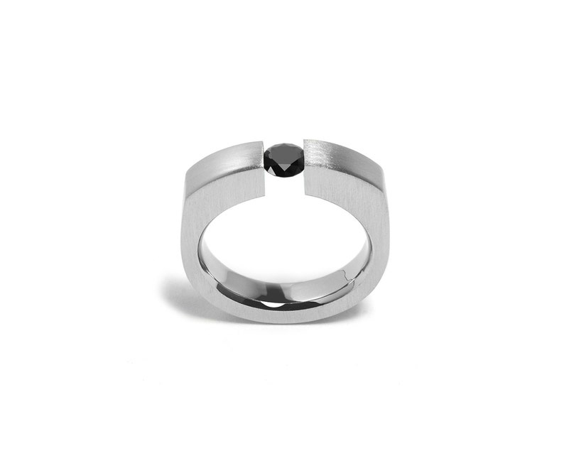 f5816acc0b4af Ring Black Onyx Comfort Fit Stainless Steel Mens Tension Setting