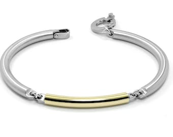Stainless Steel and Gold Tube Link Bracelet
