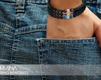 Layering Bead Bracelet 6mm Obsidian, Gold & Tiger Eye