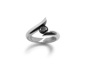 Black Diamond Tension Set Ring in Stainless Steel