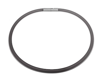 Gray Rubber Necklace 5mm Rubber 6mm Clasp by Taormina Jewelry